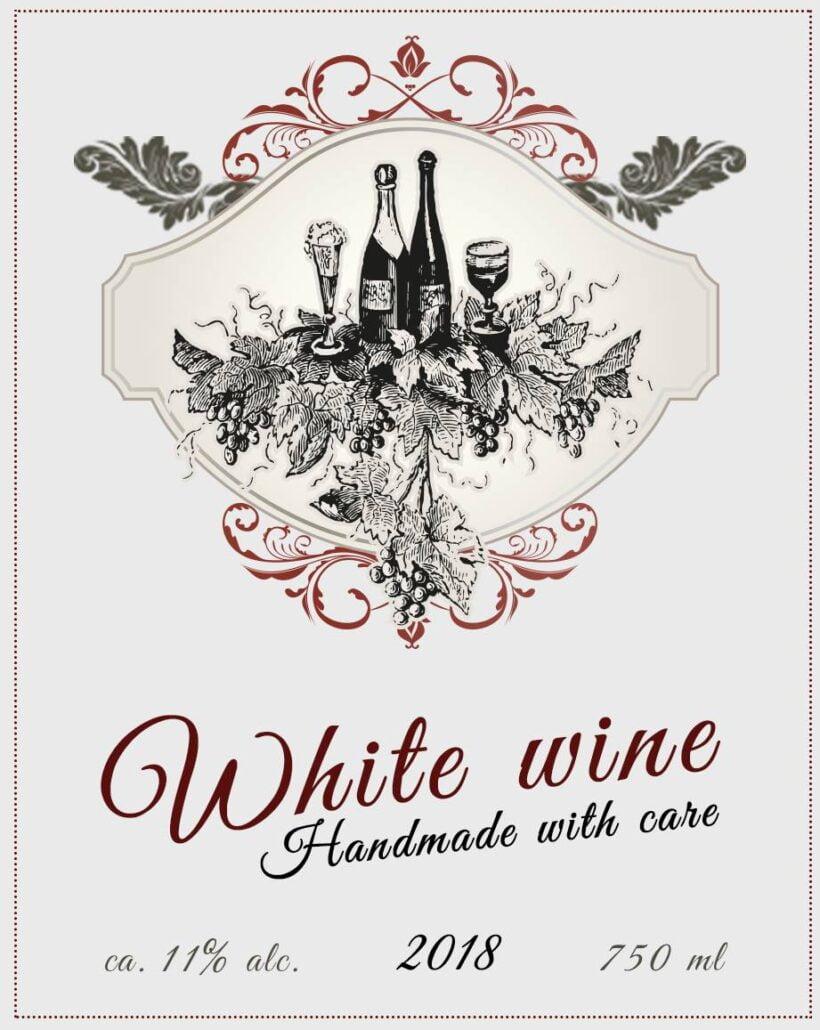 Etykieta na białe wino - padre