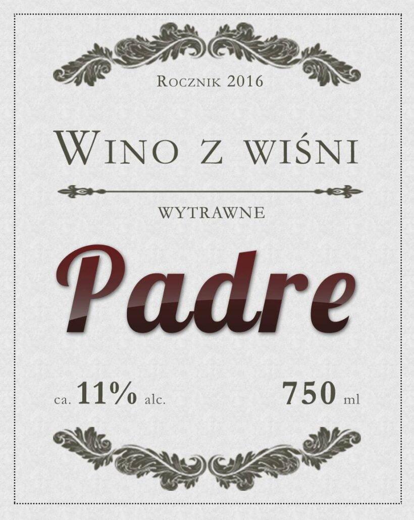 Etykieta na wino z wiśni - padre